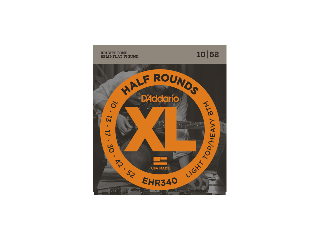 D'Addario(ダダリオ) XL Half Rounds Light Top/Heavy Bottom / EHR340 (エレキギター弦)