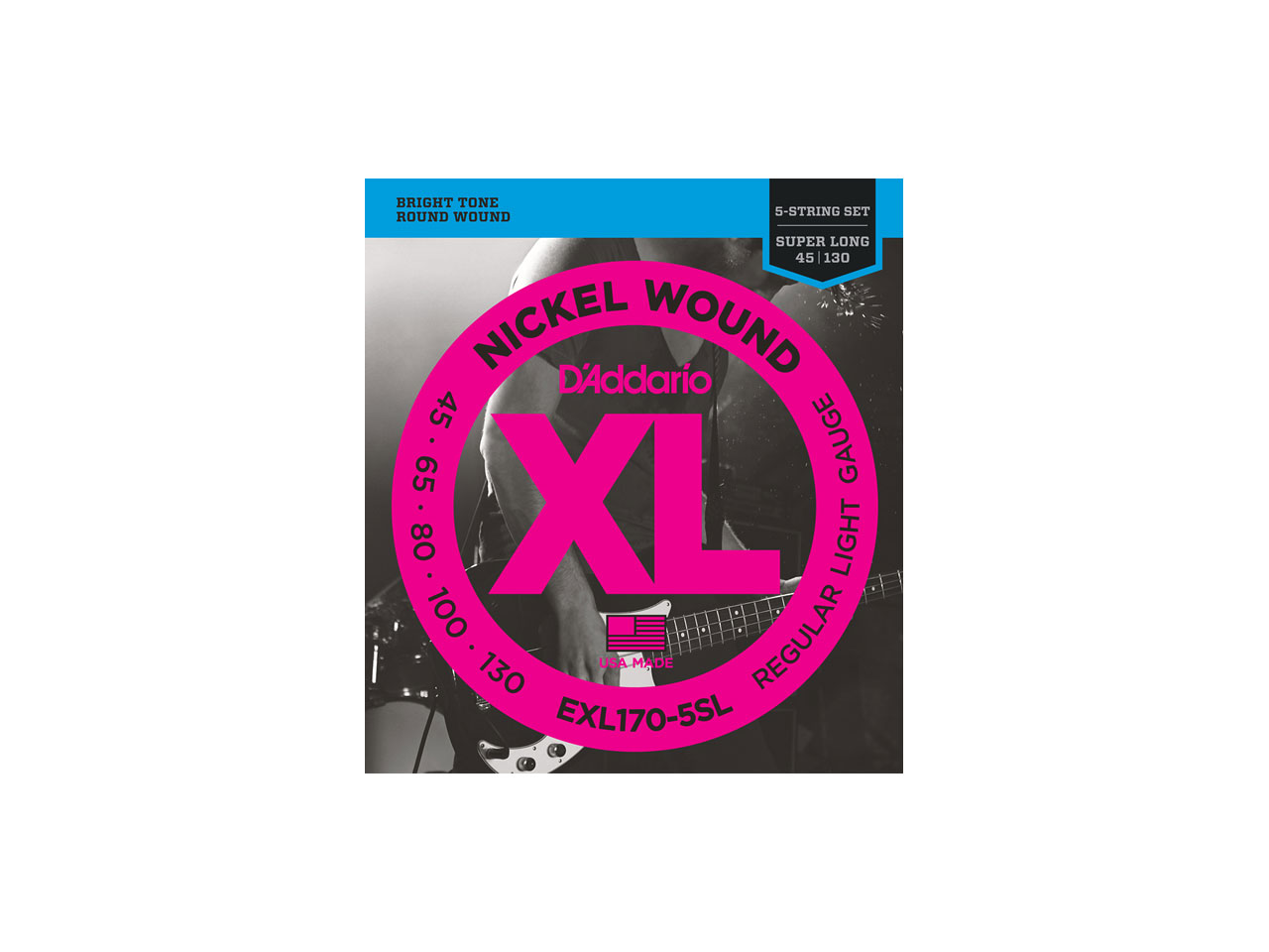 D'Addario(ダダリオ) XL Nickel Round Wound , 5-String/Super Long Scale , Regular Light / EXL170-5SL (エレキベース弦/5弦用)