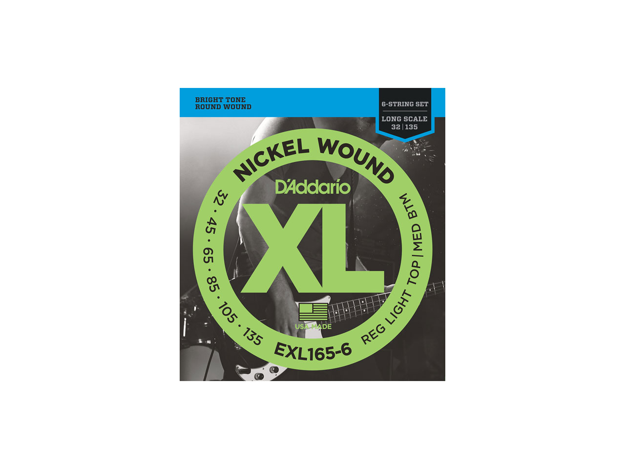 D'Addario(ダダリオ) XL Nickel Round Wound , 6-String/Long Scale , Regular Light Top/Medium Bottom / EXL165-6 (エレキベース弦/6弦用)