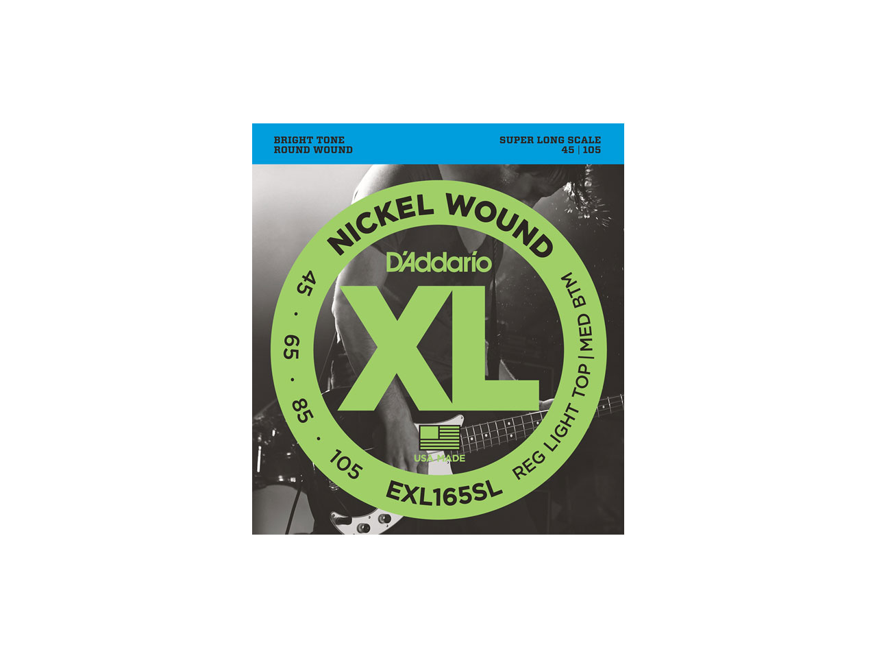 D'Addario(ダダリオ) XL Nickel Round Wound , Super Long Scale , Regular Light Top/Medium Bottom / EXL165SL (エレキベース弦)