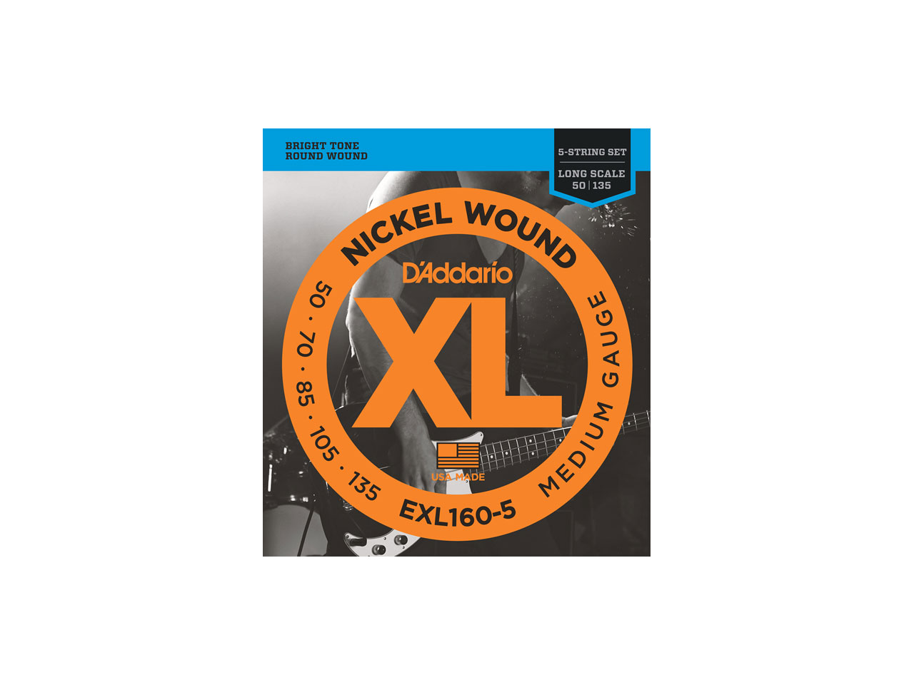 D'Addario(ダダリオ) XL Nickel Round Wound , 5-String/Long Scale , Medium / EXL160-5 (エレキベース弦/5弦用)