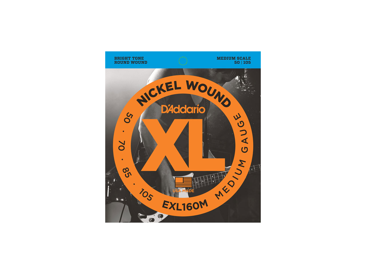 D'Addario(ダダリオ) XL Nickel Round Wound , Medium Scale , Medium / EXL160M (エレキベース弦)
